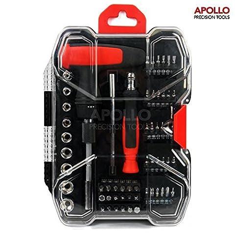 Apollo Boite à outils 59pièces avec porte-embouts de tournevis avec manche en T longue portée Douilles métriques de 4à 12mm Porte-embout de précision pour la plupart des embouts de 25 et 28mm