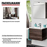 Fackelmann Badmöbel Set B.Clever 2-tlg. 60 cm braun mit Waschtisch Unterschrank inkl. Gussmarmorbecken & LED Spiegelschrank