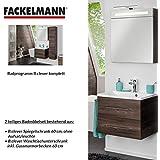 Fackelmann de muebles de baño Set B. Clever de 2piezas 60cm marrón con lavabo armario Incluye fundido (mármol & LED Armario con espejo