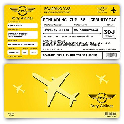 Preisvergleich Produktbild Einladungskarten zum Geburtstag (30 Stück) als Flugticket Ticket Karte Einladung in Gelb