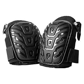 Pudincoco 1 par de rodilleras profesionales con correas ajustables Cojín de gel EVA seguro Almohadillas de rodillas de PVC para trabajos pesados   (negro)