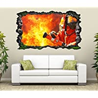 3D Wandtattoo Feuerwehrmann Feuer Feuerwehr Flamme Bild selbstklebend Wandbild sticker Wohnzimmer Wand Aufkleber 11G693, Wandbild Größe F:ca. 97cmx57cm