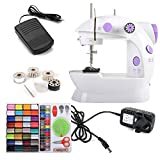 Rayinblue 2 Speed Led Electric/ Mains Battery Powered Mini Stitch Portable Sewing Machine Handheld + 4 x Bobbins + Foot Pedal + Needle & Threader + Power Adapter (UK Plug)+ 100-in-1 Needlework Sewing Tools Set