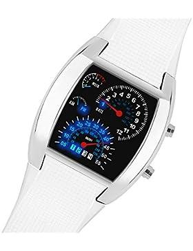 Taffstyle Sportarmbanduhr LED Binär Digital Race - Schwarz oder Silber Gehäuse