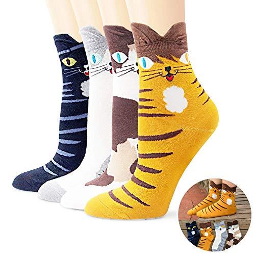 MGSOCK Lustige Socken für Frauen - niedliche Crazy Animal Cats Casual Novelty Funny Crew Socken - - Einheitsgröße (Crazy Cat Lady Kostüm Party)