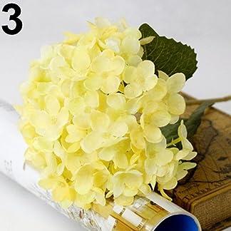 uyhghjhb 1 Ramo de Hojas de Hortensia Artificiales de Seda para decoración de Bodas, Fiestas, Seda sintética, Amarillo