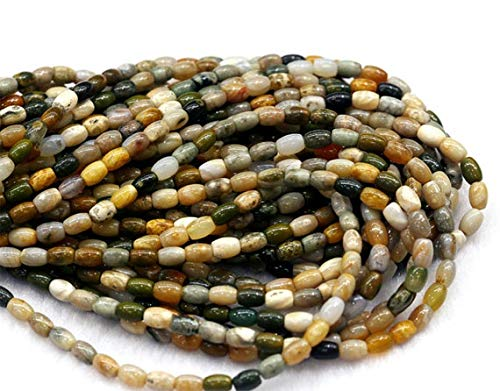 4x6mm Oval Bead (Earth Gems Park Super Fine Quality Gems Jewelry 1 Strands Natural Green White Rainbow Ocean Jasper Rice Shape Loose Small Oval Beads 4x6mm 6x8mm 15