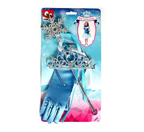 Kinder Eisprinzessin Set mit Diadem Zepter und Handschuhe Kostüm Krone Zauberstab zum Kleid Verkleidung blau