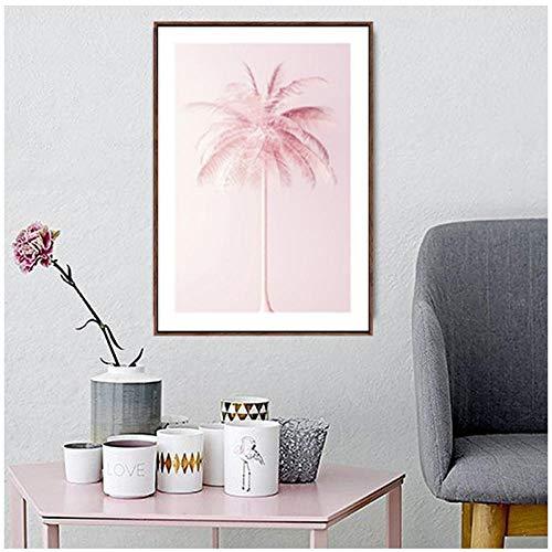 Juabc Pink Coconut Tree Leinwandbilder StreetWall Art Bilder Poster Wohnzimmer Dekor 50X70Cm Ohne Rahmen -