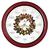 Elegante (12Canciones de villancicos de Navidad corona Melody reloj de pared silencioso de barrido, cuarzo, hogar reloj de pared Deco