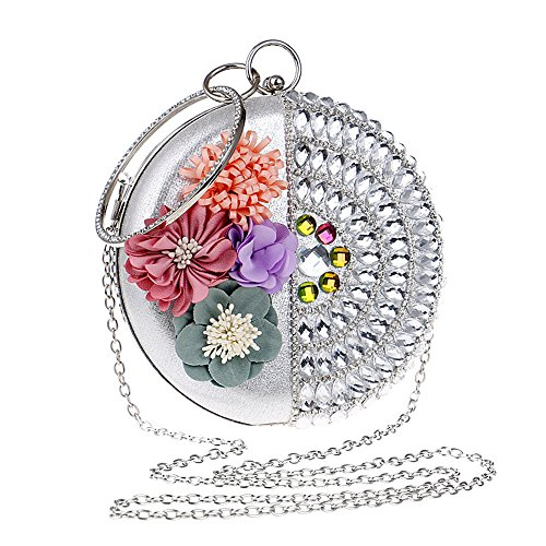 WANGXN donne frizioni con diamanti abito da sposa in raso abito da sposa con fiori , silver silver
