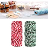 Funpa 2 Christmas Rolls Cotton Rope Cotton DIY Rope Packing Rope For DIY Crafts