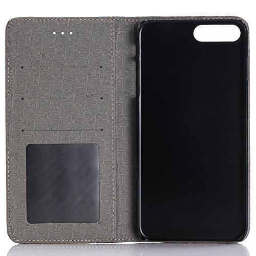 KM-WEN® Schutzhülle für Apple iPhone 7 Plus (5,5 Zoll) Bookstyle Holz Muster PU Leder Wallet Case Flip Cover Hülle Tasche Schutzhülle mit Standfunktion Kartenfächer für Apple iPhone 7 Plus (5,5 Zoll) Farbe-6