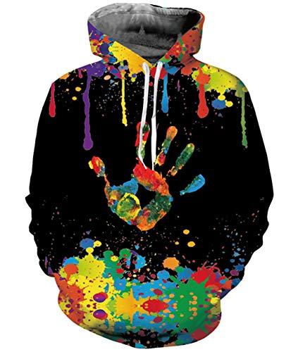 Idgreatim Teens Patterns Drucken Athletic Kapuzenpullovers Pullover Mode Kapuzen-Sweatshirts - Colorful Palm, XL Palm Pullover
