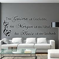 WANDTATTOO Spruch Das Gestern ist Geschichte...Wanddekoration Wohnzimmer Flur Farbe./Größenauswahl art.23091.