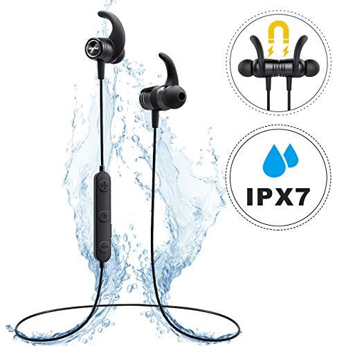 Bluetooth Kopfhörer In Ear, Mpow S10 IPX7 Wasserdicht Sport Kopfhörer, 8-9 Stunden Spielzeit/Dreiband-EQ/Mikrofon, Sportkopfhörer Joggen/Laufen/Fitness, Magnetisches Headset für iPhone Android*