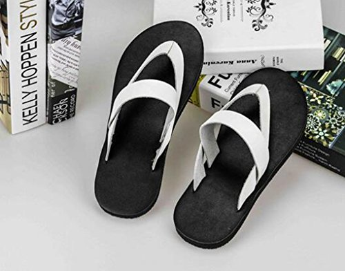 Sentao Unisex Flip Flops Leder PU Mode Zehentrenner Komfort Strandlatschen Weiß 38 7eYB1G