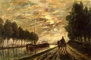 Peinture à l'huile encadrée - 16 x 10 inches / 41 x 25 CM - Stanislas Lepine - Le canal de l Ourc...