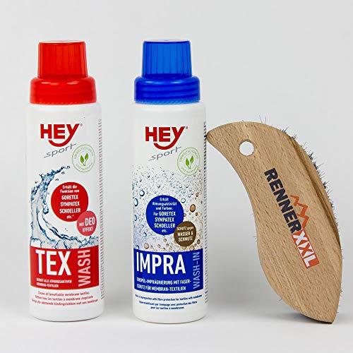 Hey Sport Doppelpack Impra Wash & Tex Wash, Waschmittel & Imprägniermittel Outdoorbekleidung Skibekleidung + REINIGUNGSBÜRSTE