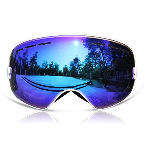 GANZTON Skibrille Snowboard Brille Doppel-Objektiv UV-Schutz Anti-Fog Skibrille Für Damen Und Herren Jungen Und Mädchen Weiß (Mädchen Bindungen Snowboard Mit)