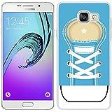 funda carcasa para Samsung Galaxy A5 2016 zapatilla cordones color azul borde blanco