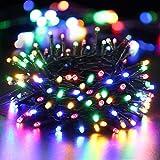 BrizLabs Luci di Natale Multicolor 10M 100 LED Luci Stringa Batteria 8 Modalità Impermeabile Cavo Verde Catena Luminosa Interno Decorazioni Natalizie per Giardino, Albero di Natale, Matrimonio