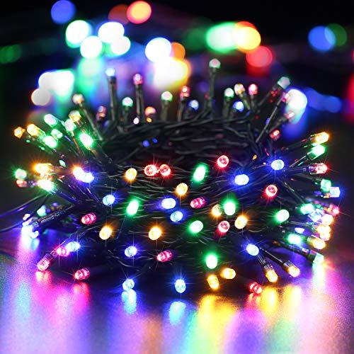 BrizLabs 100 LED Cadena de Luces 10m Luces de Navidad de Bater/ía Exterior IP44 Impermeable Guirnaldas Luminosa con 8 Modos Decoraci/ón Interior para Jard/ín Balc/ón Bodas Fiestas Terraza Blanco C/álido