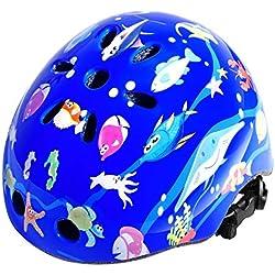 FishOaky Casco Moto Niño, Casco Motocross Niño, Casco Bicicleta Niño Seguridad Ligero y Ajustable para 3-12 años Niños para Integral Bici Kiddimoto Skate Ciclismo Scooter Mutli-Sport (Upgraded Blue)