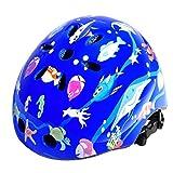 FishOaky Casco per Bambini, Bicicletta Leggera Regolabile per Bambini e Ragazzi, età 3-12 anni Ragazze, per Integrale BMX Bici Kiddimoto Riding Scooter (Upgraded Blue)