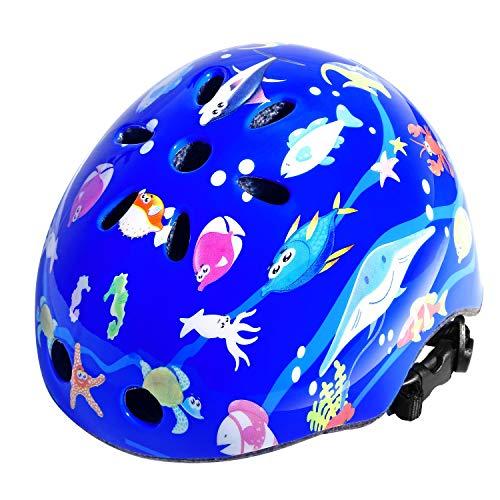 FISHOAKY Caschetti per Bambini, Casco per Bambini, Casco Bicicletta Leggera Regolabile per Bambini e Ragazzi, età 3-12 Anni Ragazze, per Integrale BMX Bici Kiddimoto Riding (Upgraded Blue)