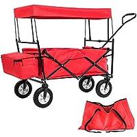 TecTake Chariot pliable avec toit amovible charrette de transport à tirer main - diverses couleurs au choix - (Rouge   No. 401082)