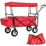 TecTake Faltbarer Bollerwagen mit Dach und extra Tragetasche rot