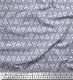 Soimoi Grau Poly Georgette Stoff Baum geometrisch Stoff