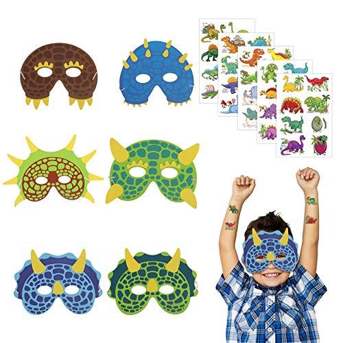 KATOOM 18er Dinosaurier Masken Party Kindermasken Schaumstoff Dinosmasken Kinder Augenmaske mit 5 Dino Sticker Mitgebsel für Kindergeburtstag Maskerade Weihnachten Halloween Cosplay