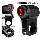 JenNiFer 12V 16A Motorrad Lenkergriff-Lichtschalter Aluminiumlegierung Wasserdicht Mit Anzeige - Schwarz