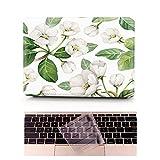 L2W Coque MacBook Air Occasion Prix Laptop Ordinateur Case Plastique Coque Rigide Housse pour Apple MacBook Air 11 pouces [Modèle:A1370/A1465] Incluant Transparent couvercle du clavier,fleur de pomme