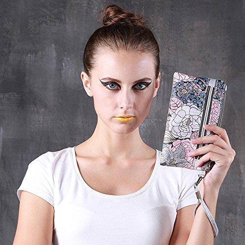 Chang Spent Portafogli donna per frizione con cerniera borsa , v v
