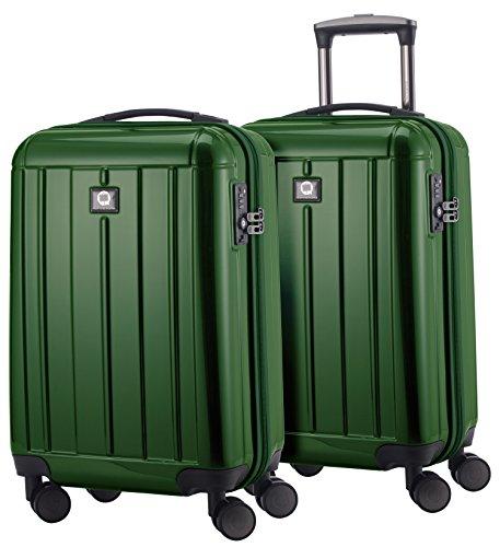 HAUPTSTADTKOFFER - Kotti - 2er Koffer-Set Trolley-Set Rollkoffer Reisekoffer Handgepäck Bordgepäck, Hartschalenkoffer, TSA Zahlenschloss, Grün glanz