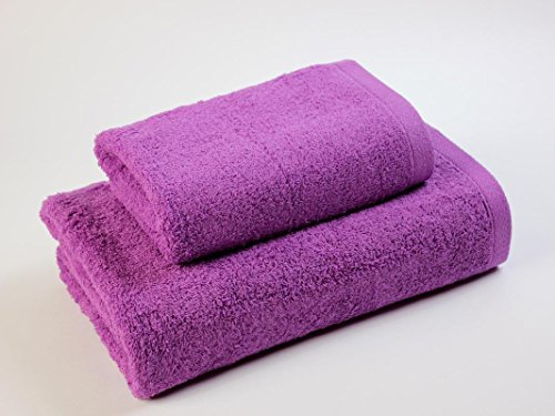 Fiore di cotone Pack asciugamano + telo da bagno per lavabo Carla 500Viola Cassaforte