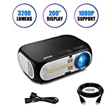 """Projector, KUAK HT60 3200 Lumens LED Video Projector 200"""" Display 50000 Hours HD"""