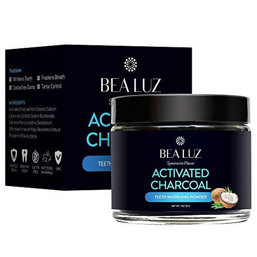 Teeth Whitening Activated Charcoal Powder – From Organic Coconut Shell and Food Grade Formula – All Natural Spearmint Flavor Tooth Whitener (30G)