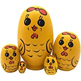 Set Of 5 Cute Egg Shape Mini Yellow Chicken Animal Theme Handmade Wooden Russian Nesting Dolls Matryoshka Dolls For Kids Toy Birthday Christmas Gift Room Decoration