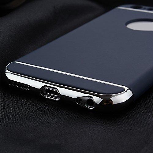 Skitic Ultra Mince Housse de Protection Étui Coque pour Cell iPhone 5 / 5S / SE, Luxe 3 In 1 Hybrid Dur PC Etui Protecteur Bumper Housse avec Electroplate Plating Mirror Back Coquille Protective Plast Bleu