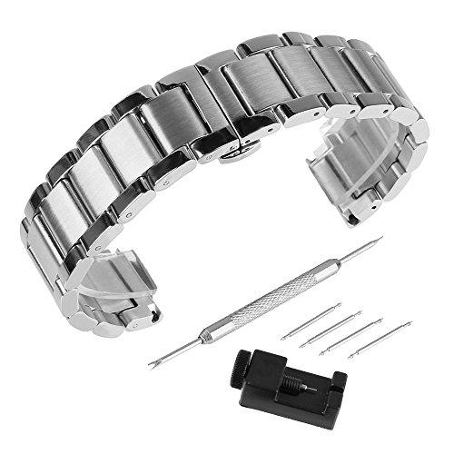 BEWISH 16mm Uhrarmband Edelstahl Ersatzband Solide Metall Uhr Band Riemen Uhrenarmbänder Ersatz Edelstahlschliesse Faltschließe Uhr Armband Unisex Smart Watch Wrist Strap Band...