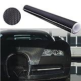 Audew Stickers Pellicola 3D Carbonio Adesiva Foglio Nero Wrapping Auto Moto Tuning 152X30 Nero 152X30