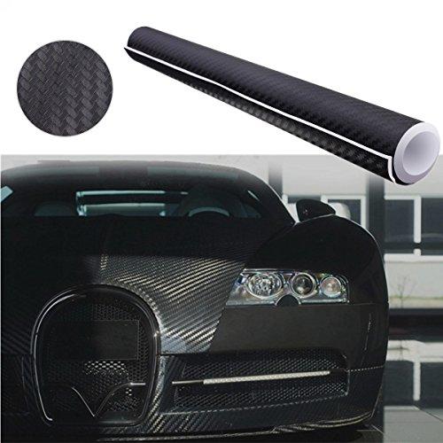 Audew Autofolie Carbon Folie Aufkleber 3D DIY Film Vinyle 12''x60'' Auto Flexibel Fiber Carbon Fiber Schwarz -