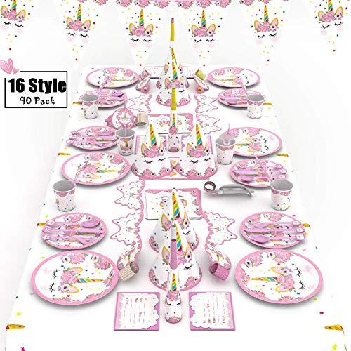 Set 16 Stile 90 Packungen Einhorn Geburtstag Set, Geburtstag Partydekorationen, Prinzessin Partydekorationen, Einhorn Partyset Deko für Kindergeburtstag ()