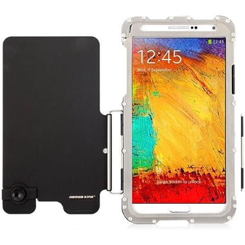 Alienwork Metal Gear Funda para Samsung Galaxy Note 3 Prueba de golpes protectora bumper case Soporte Acero inoxidable plata