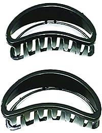Glitteria Hair Butterfly Clip Black Curve for Girls & Women Set of 2 (AMP-SB-18-BBF-CBLACK)