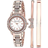 Anne Klein Women's Swarovski Crystal Accented Bracelet Watch and Bangle Set, AK/3334BHST